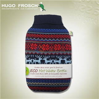 德国原装进口Hugo Frosch 高领圣诞针织注水热水袋 1.8L