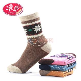 浪莎  男士女士舒适保暖兔羊毛短袜3双装 颜色随机