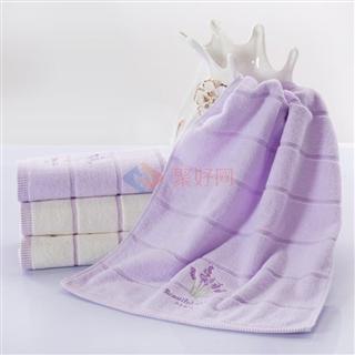 【活动】叠丰 Baihuamj全棉熏衣草毛巾35*76熏衣紫/本白色两条装