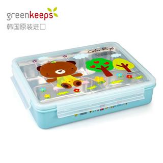 韩国原装进口Greenkeeps绿扣食品级304不锈钢防烫可拆分五格一体三菜一汤便当盒饭盒餐盘2000ml蓝色卡通