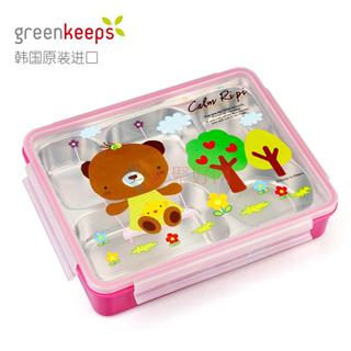 韩国原装进口Greenkeeps绿扣食品级304不锈钢防烫可拆分五格一体三菜一汤便当盒饭盒餐盘2000ml粉色卡通