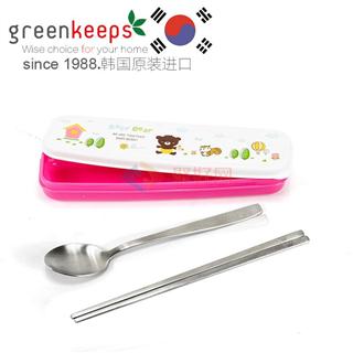 韩国原装进口Greenkeeps绿扣食品级304不锈钢便携式卫生餐具-勺子筷子 粉色卡通