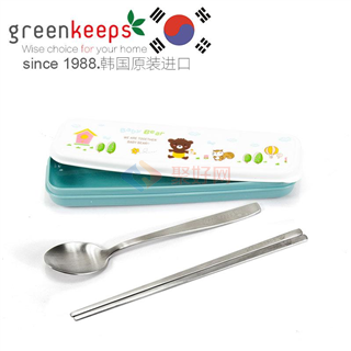 韩国原装进口Greenkeeps绿扣食品级304不锈钢便携式卫生餐具-勺子筷子 蓝色卡通