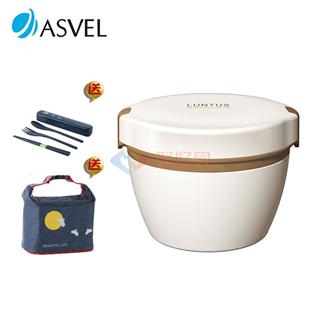 日本asvel不锈钢可微波加热炉双层保温饭盒便当盒 620ml送保温袋和餐具 白色 蓝色 红色可选