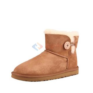 牧澳  女士经典纽扣糖果色短靴羊毛保暖舒适秋冬低筒雪地靴