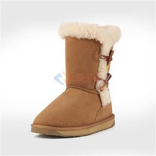 牧澳  澳洲羊皮毛一体雪地靴侧扣中筒冬季女靴