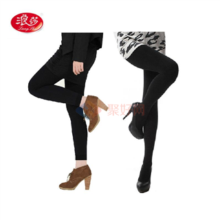 浪莎 1200D时尚迷你绒加档保暖连裤袜/九分裤 2条装