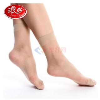 浪莎 包芯丝短袜1包 5双装 黑色 肤色可选