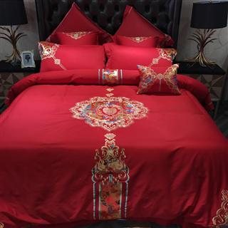 天逸 中式婚庆床品 贡缎纯棉四件套刺绣六件套八件套 大红1.8米2.0米床上用品 龙腾凤翔
