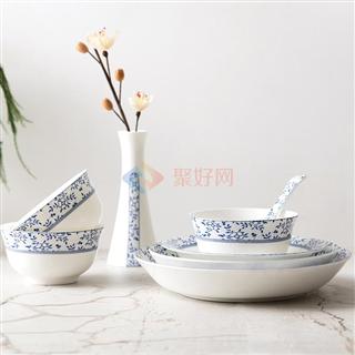 爱彼此(ABS)  Blue优雅青花系列36头骨瓷餐具礼盒套装