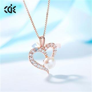CDE/西黛尔时尚首饰925银镶钻珍珠锁骨项链
