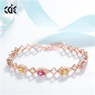 CDE/西黛尔925银手链AAA彩锆玫瑰金水晶手环