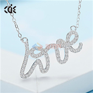 CDE/西黛尔S925银英文字母LOVE锁骨项链水晶项链