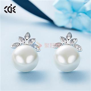 CDE/西黛尔925银珍珠女耳环日韩版简约时尚耳钉
