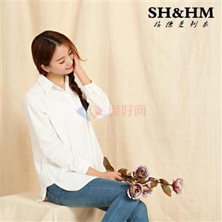 SH&HM 纯棉白衬衫宽松大码女式白衬衣 SH-1519