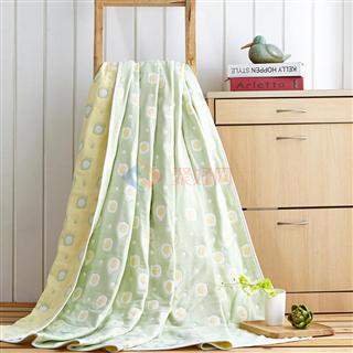 叠丰 Baihuamj纯棉六层纱布提花单双人儿童毛巾被盖毯 煎蛋/草莓/云朵