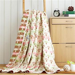 叠丰 Baihuamj纯棉六层纱布提花单双人儿童毛巾被盖毯 日式蘑菇/水纹