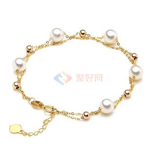 纯天然淡水珍珠手链 18K金链 双层设计 气质百搭 色白圆润φ7-7.5mm