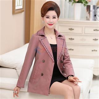 2018春季新款女士时尚韩版修身百搭双排扣纯色女款风衣外套