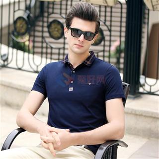 18年春夏新款男士时尚修身爆款纯色短袖翻领T恤