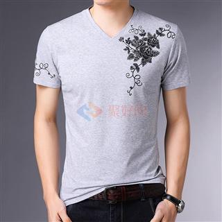 新款2108夏季爆款全棉男士修身时尚圆领印花短袖体恤衫