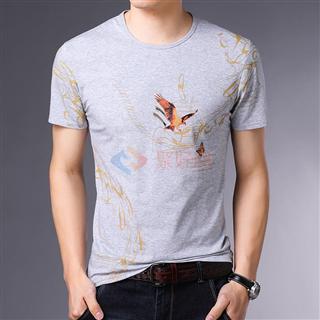 2108夏季新款男士全棉时尚修身爆款圆领印花男款T恤短袖