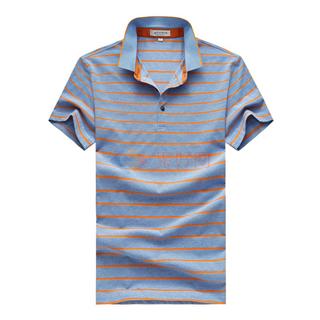 2018夏季新款中年男士经典休闲时尚翻领条纹T恤短袖