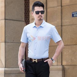 2018春夏爆款时尚修身商务男士短袖衬衣买一送一厂家直销