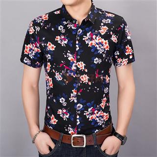 2018夏季新款男士全质棉时尚休闲韩版修身气质男款短袖花色衬衣