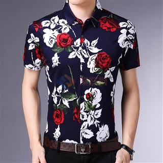 2018夏季新款100%全棉时尚韩版修身男士爆款短袖花色衬衣