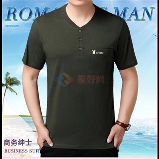 新款18年夏季男士中年全棉V领男款纯色短袖T恤衫