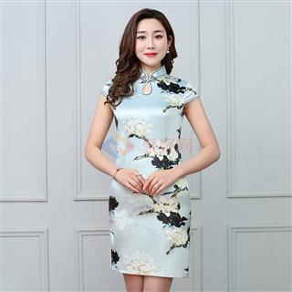 2108夏季新款女士时尚爆款中国风丝质古典短款女旗袍