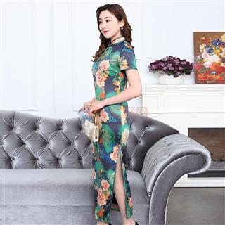 新款2108女士丝质长款中国风时尚修身显瘦爆款旗袍