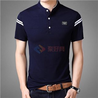 18年夏季新款男士全棉时尚修身显瘦纯色立领男款短袖T恤
