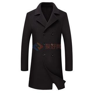 2018秋冬新款男士修身双排扣中长款100%羊毛双面羊毛男款风衣