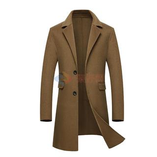 18年秋冬新款男士时尚修身翻领中长款手工羊毛男款双面羊绒大衣