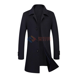 秋冬新款100%羊毛男士中长款时尚修身单排扣双面羊绒男款大衣-