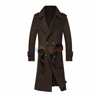 秋冬新款男士100%羊毛时尚修身长款翻领腰带男款双面羊绒大衣