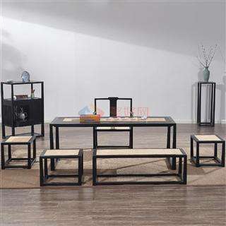 传风 新中式禅意实木功夫茶桌台  组合(茶桌+1茶椅+3方凳+1长凳+1花架)