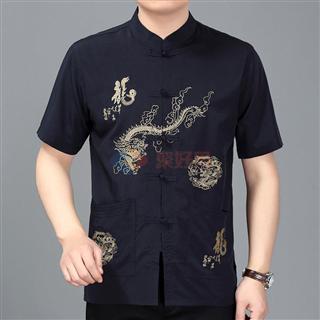 春夏新款中年男士纯色大码中国风立领盘扣大龙短袖唐装外穿