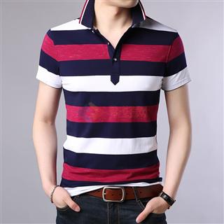 18年春夏新款青年男士时尚修身爆款立领条纹短袖体恤