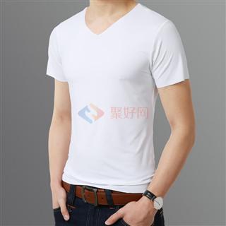 夏季2108V领时尚丝光棉纯色修身爆款短袖T恤4色可选
