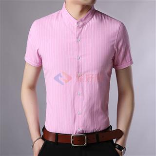 新款2018男士时尚修身爆款百搭纯色条纹立领短袖衬衫