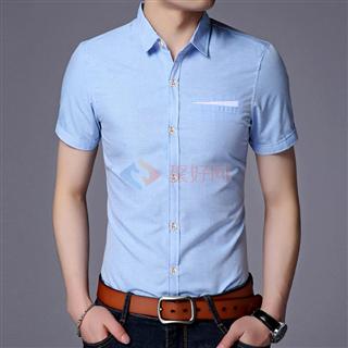 2018夏季新款男士纯色时尚商务韩版修身爆款男款短袖衬衫