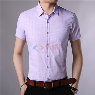 18年春夏新款时尚修身纯色商务韩版男士爆款短袖衬衫