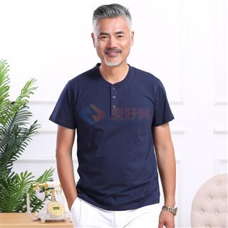 夏季新款中年男士大码爸爸装经典版时尚圆领纯色男款短袖恤4色可选