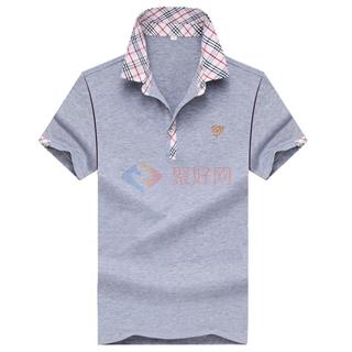 夏季经典款时尚修身纯色格子翻领年轻爸爸装短袖T恤男