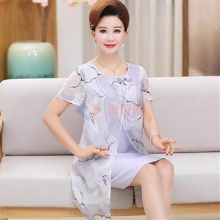 夏季新款气质经典花色时尚年轻妈妈装修身爆款雪纺连衣裙