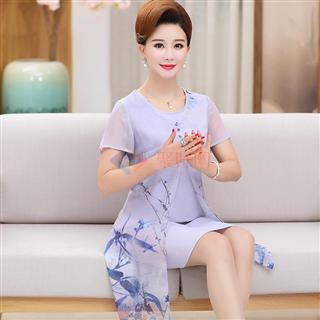 新款2018时尚经典花色修身显瘦爆款年轻妈妈装雪纺连衣裙