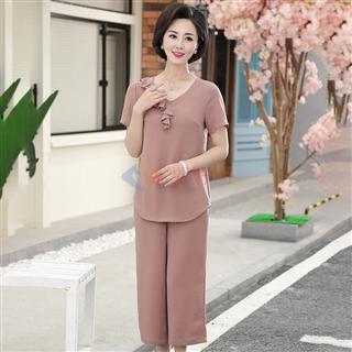 夏季新款中青年时尚妈妈装修身显瘦纯色圆领女款套装
